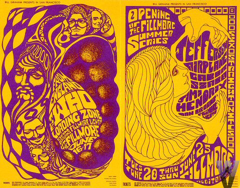 Le Jefferson Airplane promu par Bill Graham. Affiche originale.