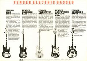 Fender Basses catalogue